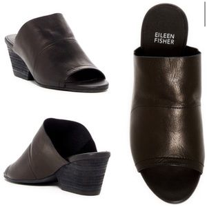 Eileen Fisher JuJu Peep Toe Leather Mule Sz 10